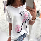 Fashion Women Tops White High Heel Shoes Floral Casual Summer T-shirt Blouse Tee