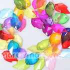 50/100pcs Mixed Colors Transparent Acrylic Maple Leaf Shape Loose Beads 14x23mm