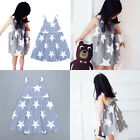 HOT Girls Mini Dress Sleeveless Beach Sundress Star Printed Stripe Party Dress