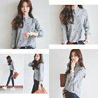 HOT Women's Shirts Embroidery Floral Long Sleeve Tops Casual Striped Blouse