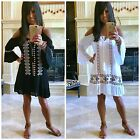Boho Embroidered Cold Shoulder Ruffle Bell Sleeve Dress - Tunic White Black S-XL
