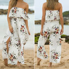 NEWEST Women Lady Floral Loose Stretch High Waist Wide Leg Long Pants Trousers