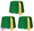 ADULT GREEN FEZ HAT TURKISH FANCY DRESS MOROCCAN STYLE COSTUME ACCESSORY LOT