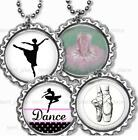 "Dance Dance Ballet Bottle Cap Necklace 24"" Chain Ballet Tutu Girl's Jewelry"