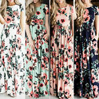 Women Floral Holiday Long Dress Ladies Summer Evening Boho Maxi Dress Size S-2XL