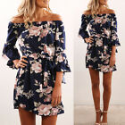 Summer Women Casual Off Shoulder Half Sleeve Lace-up Floral Beach Cocktail Dress