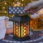 17.5cm Solar Power Outdoor LED Flameless Flickering Candle Lantern | Garden