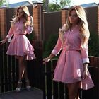 Women Stripe A Line Button Party Shirt Tops Cocktail Prom Skater Mini Dress New