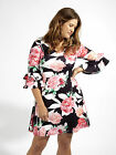 Lovedrobe GB Womens Plus Size Floral Swing Dress With Bell Sleeves