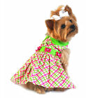 Dog Harness Dress Cute Pink/Green Plaid Pattern!