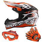 Wulfsport Sceptre Adult Motocross Helmet Off Road Orange + LEO Goggles Gloves