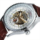 Sewor Skeleton Mechanical Automatic Mens 40mm Fashion gents Silver Watch 611 image