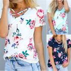 Women Summer Short Sleeve Floral Shirt Blouse Tops Loose T Shirt Casual Tee Top