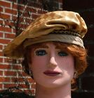 Renaissance Hat, Gold with Checkered Pattern, Tan Brim, Black and Yellow Trim