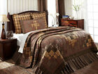 6PC Prescott Brown & Tan Quilted Patchwork Bedding Quilt Set by VHC Brands *NEW*
