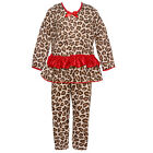 Laura Dare Little Girls Brown Red Leopard Print Ruffle 2 Pc Pajama Set 4-6X