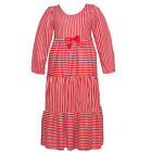 Laura Dare Little Girls Red White Stripe Bow Long Sleeve Nightgown 2T-6X