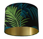 Tropical Palm Leaf Green/Teal Handmade Lampshade with Brushed Gold Lining