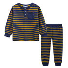 Pyjamas Boys Winter Long Cotton Knit Pjs (Sz 8-14) Set Henley Navy stripes (752)