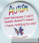 Autism Button Badges , just because I can't speak doesn't mean I have nothing to