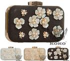 LADIES PEARLS GOLD TRIM EVENING HARD CASE CLASP PURSE BRIDAL PROM CLUTCH BAG
