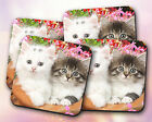 Animals // Cats, Kittens, Black, White, Flowers, Adorable // Coaster [NEW!] 10