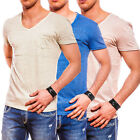 Sublevel Authentic Style Herren T-Shirt V-Neck gestreift Polo Hemd Shirt Sweat