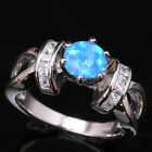 Exquisite Blue Fire Opal White Topaz Silver Rings Size 6 7 8 9 T1236