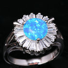 Around Circle Blue Fire Opal Topaz Woman's Silver Rings Size 6 7 8 9 T1251