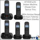 BT Twin or Trio Cordless Phone with Answering Machine 3930 2 - 3 Cordless Phones