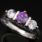 Divine Pink Fire Opal Topaz Circle Gems Silver Rings Size 6 7 8 9 T1089