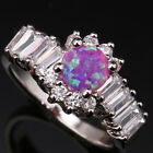 Glowing Pink Fire Opal Topaz Circle Gemstones Silver Rings Size 6 7 8 9 T1103