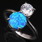 Outstanding Blue Fire Opal White Topaz Fashion Silver Ring Size 6 7 8 9 T1133
