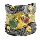 Polemis L36B ~ Sterling & Gold Plated Silver with Tourmaline Wrap Ring