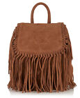 New Womens Superdry Premium Suede Neo Nomad Fringed Backpack Tan