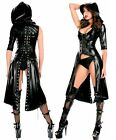 SEXY  Faux Leather WET LOOK Hooded Lace Up Gothic Catsuit Long Dress Coat 8 10