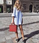 NWT ZARA SS17 2017 JOIN LIFE BLUE JUMPSUIT DRESS WITH RUFFLED SLEEVES_XS S M L