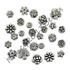 Tibetan Silver Carved Flower Round Coin Space Connector Charm Crafts Beads