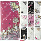 Bling Crystal Diamond Wallet Cover Stand Leather Case For HTC Cell Phone Sleeve