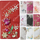 Phone Case Wallet Stand Flip Leather Diamond Rhinestone Cover Fitted Skin For LG