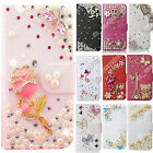 Wallet Stand Flip PU Leather Case For HuaWei Diamond Phone Cover Rhinestone Bags