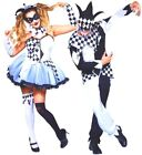 NEW Ladies Mens Harlequin Jester Clown Jingle Harley Quinn Fancy Dress Halloween