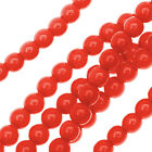 Czech Glass Pastella, Smooth Round Druk Beads 4mm, 1 Strand, Red Fatale