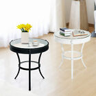 HomCom 24 Small Round Metal Glass Top Accent End Table Nightstand Living Room