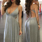 UK Women' s Lace Up Bodycon V Neck Strapless Evening Party Ladies Long Dresses