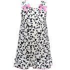 I.C. Collections Little Girls Black White Spot Pink Bow Nightgown 2T-6X
