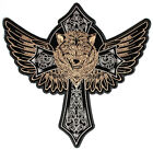 Embroidered Wolf In Cross and Wings Large Back PATCH