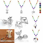 Gemstone 7Chakra Natural Beads Hollow Openable Locket Long Pendant Necklace New