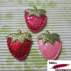 """(U Pick) Wholesale 30-300 Pcs 1-3/4"""" Padded Sequined Strawberry Appliques FR150"""