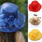 Fashion Lady Wide Brim Sun Hat Women Wedding Tea Party Church Cap Beach Holiday